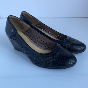 Hush Puppies Black Leather Wedge Heel Shoes Size 6.5